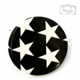 WHITE ON BLACK FIVE STAR BUTTON